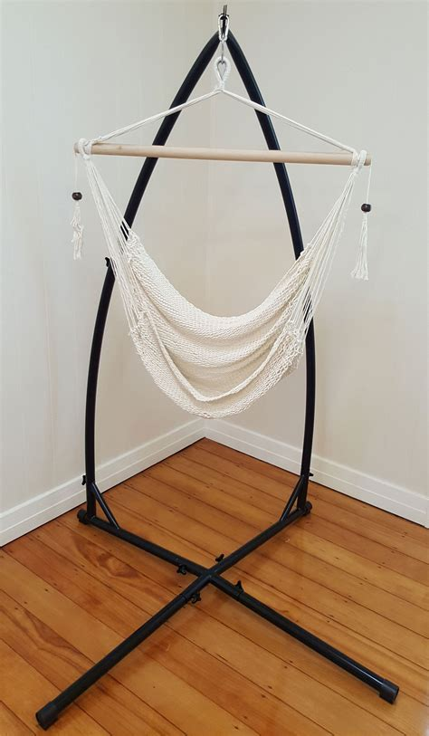 white cotton rope hammock chair  tassels  stand