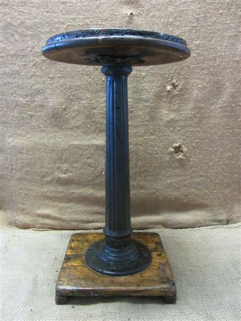 vintage  cast iron wood stool antique table stand