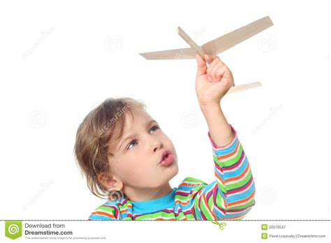 Little Girl Playing With Toy Plane Royalty Free Stock