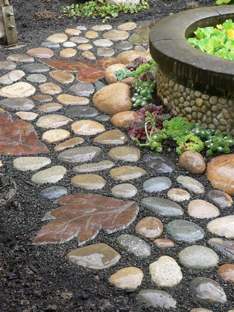 walkway stones river stone walkway idea seven diy projects