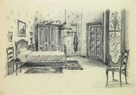 Drawing Of Bedroom by Pencil Drawing Bedroom Interior Circa 1950