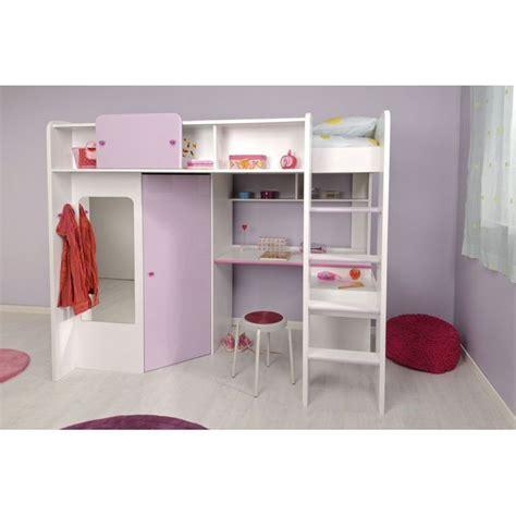 lit mezzanine fille avec bureau demoiselle lit mezzanine 90 x 200 cm bureau étagères