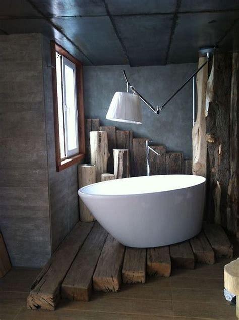 wood beams floor  bathtub bathroom rustic design