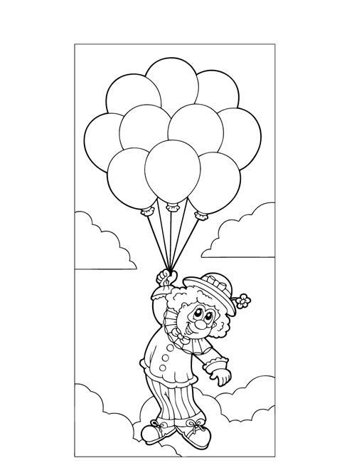 Kleurplaat Clown Met Ballonnen kleuren nu clown met ballonnen in de lucht kleurplaten
