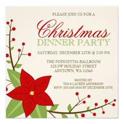 modern poinsettia christmas holiday dinner party 5 25 quot square invitation card zazzle