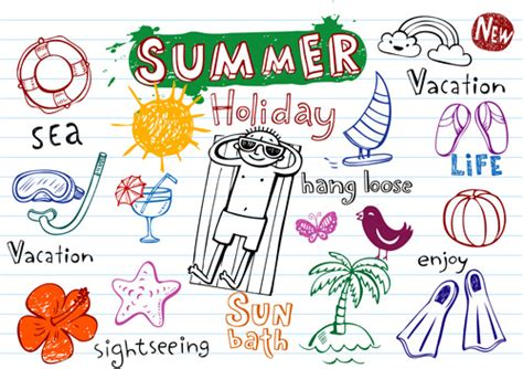 cute summer holiday hand drawing elements vector
