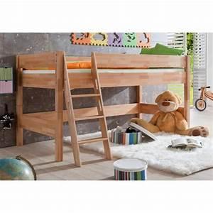 Lit Mezzanine Mi Hauteur : lit mi hauteur pour enfant 90x200 coloris bois naturel ~ Melissatoandfro.com Idées de Décoration