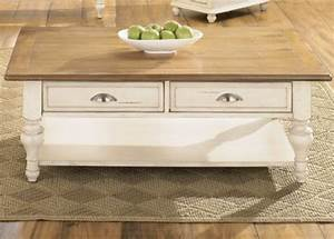 country cottage rectangualr cocktail table With white country style coffee table