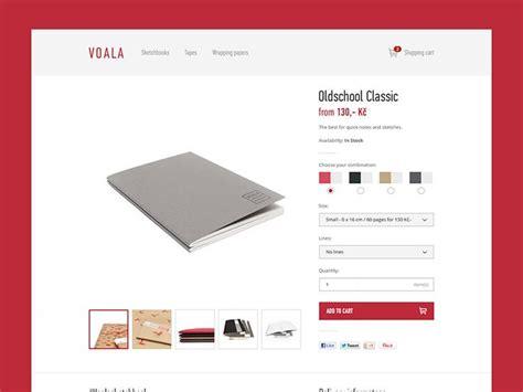 product page voala sketchbooks product detail page minimal e commerce website design ui design web