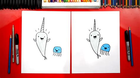 draw narwhal  jelly art  kids hub