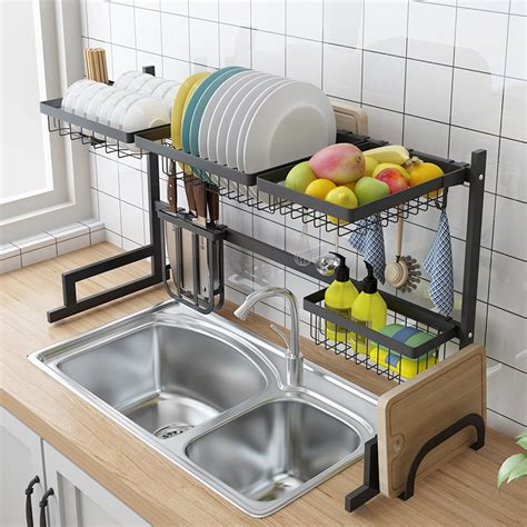 metal rack for kitchen sink stainless steel sink drain rack kitchen shelf two story