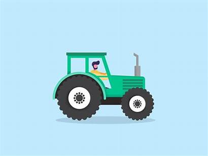Tractor Animation Gifs Dribbble Flat