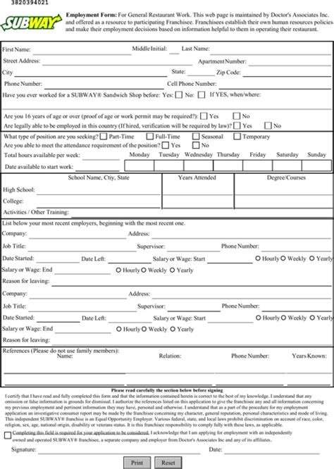 Subway Job Application Pdf Whitneyportdailycom