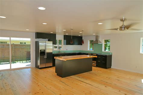 wide plank blue pine flooring   decidedly modern interior