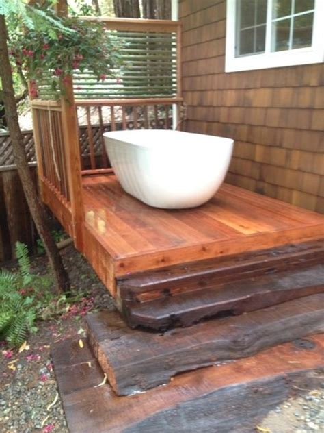 redwood soaking tub custom made redwood deck with outdoor soaking tub by