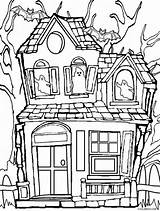 Coloring Pages Spooky Getcolorings Haunted sketch template