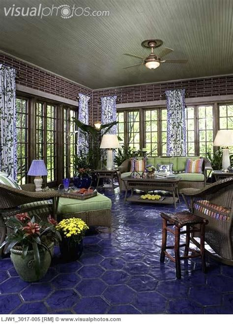 sunrooms cobalt blue hexagon tile floor walk