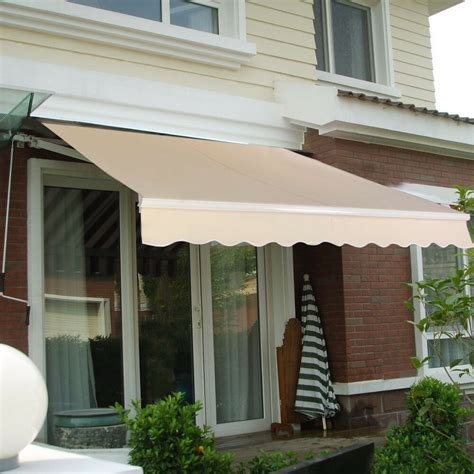 manual patio outdoor retractable deck awning sunshade shelter canopy ebay