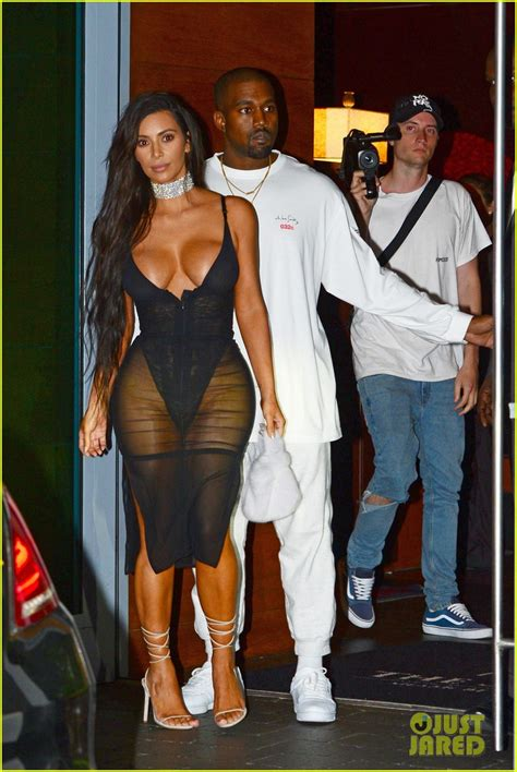 kanye west sexy kim kardashian shows off major cleavage in sexy sheer
