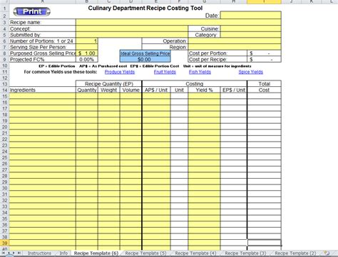 excel recipe template  chefs chefs resources