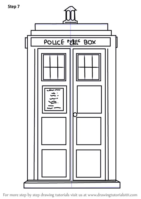 Tardis Template For Cake by Learn How To Draw Tardis From Doctor Who Doctor Who Step