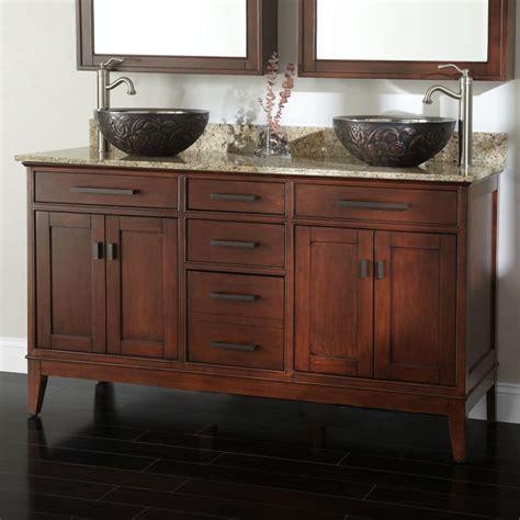 double vessel sink vanity 60 quot madison double vanity for vessel sinks tobacco