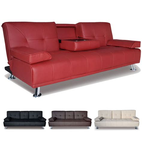 Folded Sofa Bed by Large Faux Leather 3 Seater Sofa Bed Futon With Fold Down