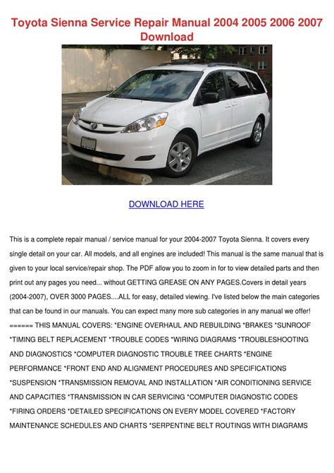 auto repair manual free download 2005 toyota sienna spare parts catalogs toyota sienna service repair manual 2004 2005 by enda dito issuu