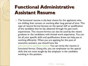 functional resume exles for administrative assistant functional administrative assistant resume 9