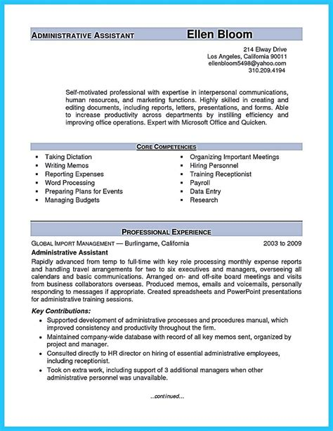 nice sample   administrative assistant resume