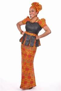 Kente Print Top and Skirt with Brocade Design-dp3227bp2 - Dp3227bp2 - African Print Skirt Set ...