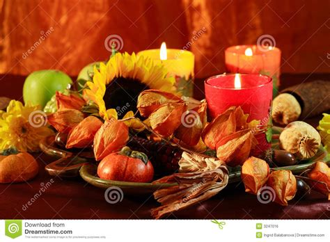 happy thanksgiving stock photo image  seasonal candle