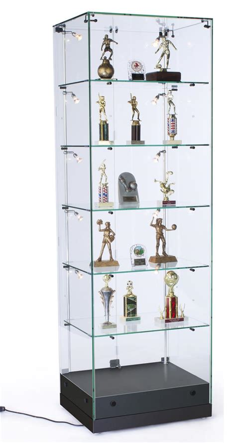 glass display cabinet hardware display case vertical lighting strips black mdf
