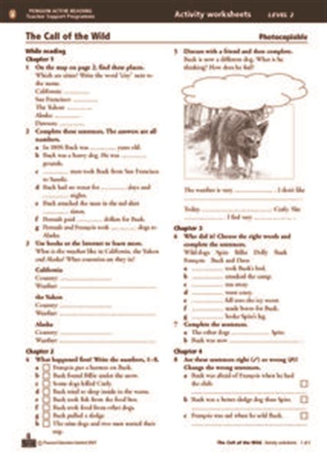 call   wild activity worksheets chapters