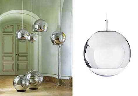 mirror pendants and floor ls by tom dixon