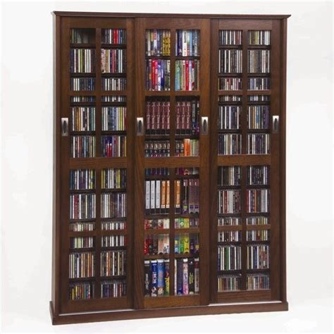Media Cabinet by Leslie Dame Cd Dvd Wall Rack Media Storage Walnut