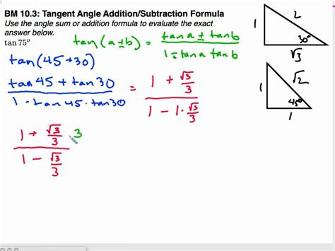 precalccast sum  difference formula  tangent youtube