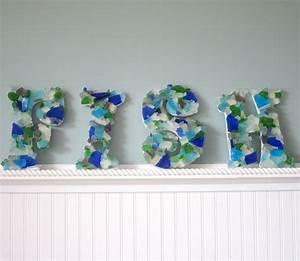 wall letters nautical beach decor sea glass letters With glass letters for wall