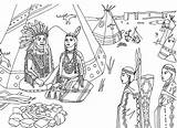 Coloring Indian Pages Village sketch template