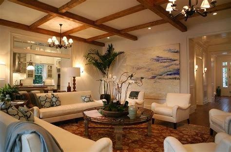 exposed beams ceiling transitional living room