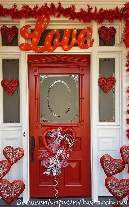 Door Decorations Valentine Valentines Porch Tree Decorated