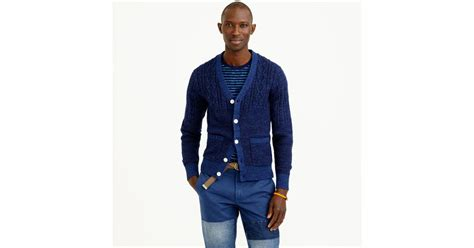 J.crew Wallace & Barnes Fisherman Cardigan In Blue For Men