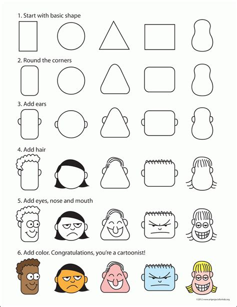draw cartoon faces art projects  kids
