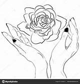 Holding Hand Flower Template Rose Drawing Sketch Coloring Pages sketch template