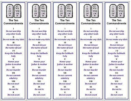 Then with a few folds and one straight cut, you fold it into a cute little minibook! Ten Commandments Bookmarks, Free Printable for Kids | Kids sunday school lessons, Sunday school ...