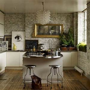 15, Natural, Kitchen, Designs, With, Stone, Wall