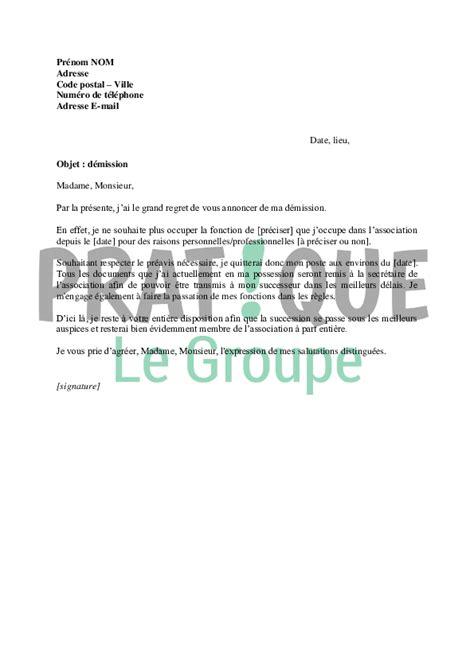 bureau d une association lettre de d 233 mission d une association pratique fr