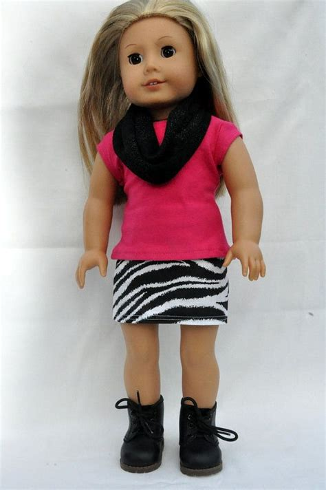 american doll clothes zebra print mini skirt pink t shirt and infinity scarf 18 inch mini