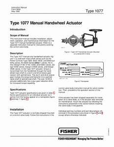 1077 Handwheel Actuator Instruction Manual By Rmc Process