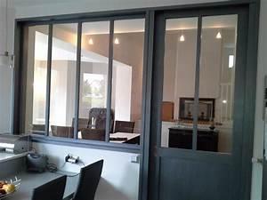 cloison verriere porte coulissante sur mesure verriere With porte d entrée alu avec cloison verre salle de bain